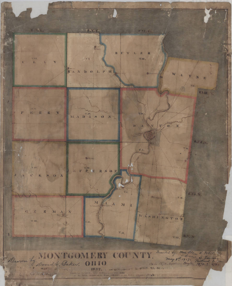 Montgomery County Ohio 1832 Map Collection Dayton Remembers