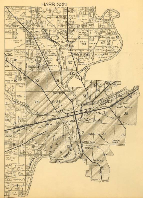 Miami Township Ohio Map.Harrison Township Montgomery County Ohio Circa 1938 Map